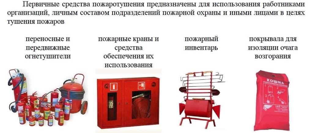 Что относится к первичным средствам пожаротушения